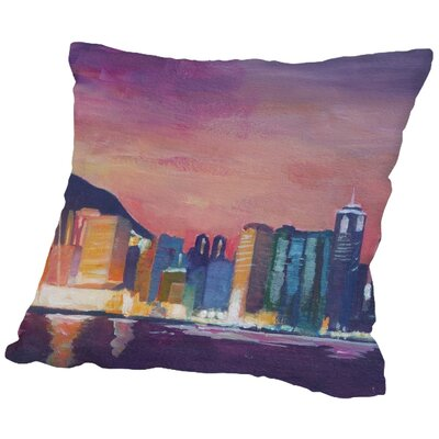 Markus Bleichner Waldon Hongkong Night Throw Pillow Size: 18 H x 18 W x 2 D