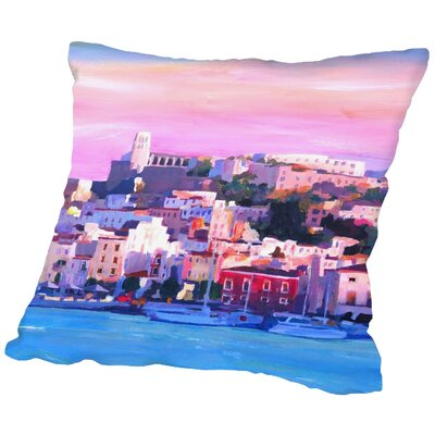 Markus Bleichner Delaune Ibiza Old town and Harbour Pearl of the Mediterranean Throw Pillow Size: 20 H x 20 W x 2 D