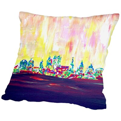 Markus Bleichner Manahan Muc Skyline in Neon Hell 2 Throw Pillow Size: 16 H x 16 W x 2 D