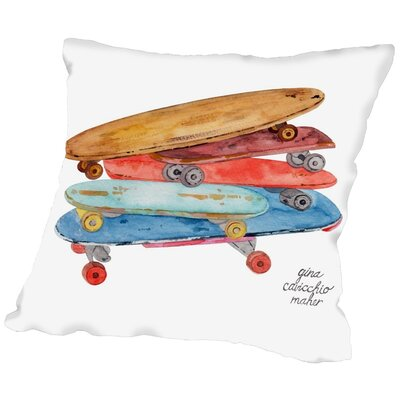 Gina Maher Pohlman Skate Boards Throw Pillow Size: 20 H x 20 W x 2 D