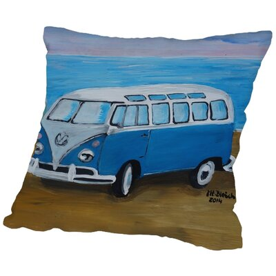 Markus Bleichner Boardman Blue Surfbus with Surf Boards Throw Pillow Size: 16 H x 16 W x 2 D