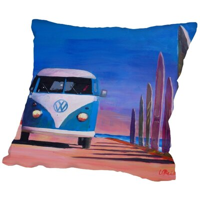 Markus Bleichner Parsley Blue White VW Surf Bus T1 Kombie Bulli at Surf Board Road Throw Pillow Size: 18 H x 18 W x 2 D