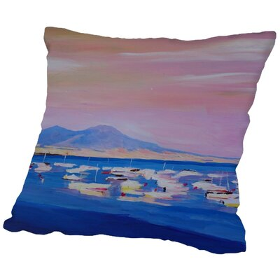 Markus Bleichner Salvato Boats in Gulf of Naples Italy with Vesuvius Throw Pillow Size: 16 H x 16 W x 2 D