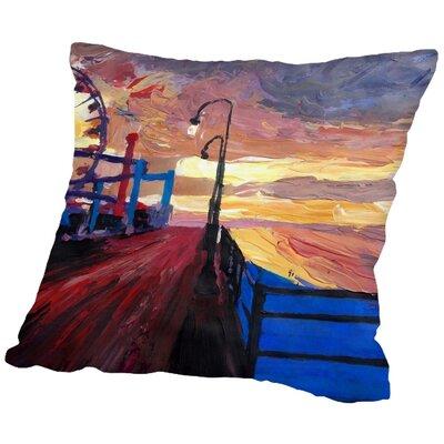 Markus Bleichner Cifuentes Santa Monica Pier Dusk 2 Throw Pillow Size: 20 H x 20 W x 2 D
