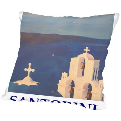Markus Bleichner Chea Santorini Greek Island Classical Poster Throw Pillow Size: 16 H x 16 W x 2 D
