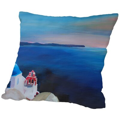 Markus Bleichner Kiker Santorini Greek Island View Throw Pillow Size: 18 H x 18 W x 2 D