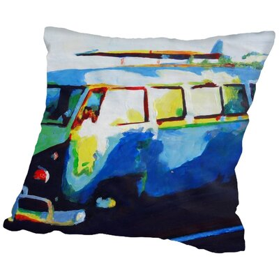 Markus Bleichner Ching The Blue Surf Bus Throw Pillow Size: 18 H x 18 W x 2 D
