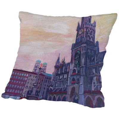 Markus Bleichner Kyles Munich Marienplatz with Church of Our Lady at Sunset Throw Pillow Size: 18 H x 18 W x 2 D