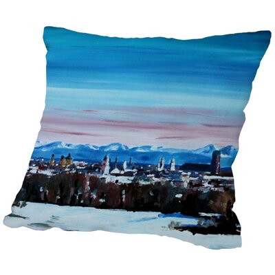 Markus Bleichner Bealer Snow Covered Winter Munich Throw Pillow Size: 18 H x 18 W x 2 D