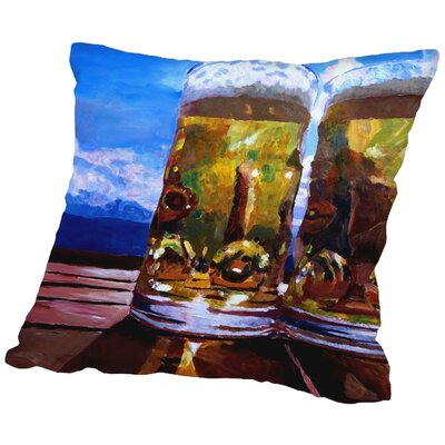Markus Bleichner Kephart 2 Beers with Mountains Throw Pillow Size: 16 H x 16 W x 2 D