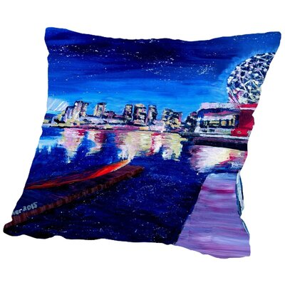 Markus Bleichner Dunton Vancouver Skyline at Starry Night Throw Pillow Size: 18 H x 18 W x 2 D