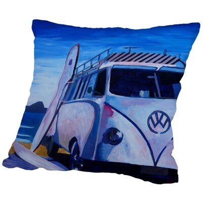 Markus Bleichner Dinger The Volkswagen Bully Series the White Bus Throw Pillow Size: 16 H x 16 W x 2 D