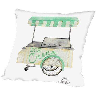 Gina Maher Harkins Ice Cream Cart Throw Pillow Size: 16 H x 16 W x 2 D
