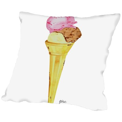 Gina Maher Hagans Ice Cream Cone Throw Pillow Size: 20 H x 20 W x 2 D