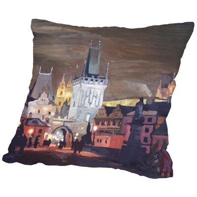 Markus Bleichner Viles Prague Charles Bridge Karluv Most Throw Pillow Size: 18 H x 18 W x 2 D