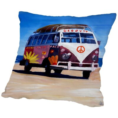 Markus Bleichner Kopecky The Groovy Peace Surf Bus Throw Pillow Size: 18 H x 18 W x 2 D