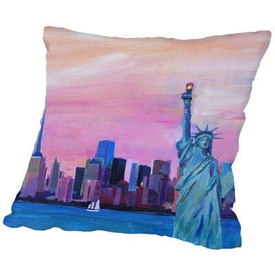 Markus Bleichner Appling Manhattan Skyline with Downtown Skyline and Statue of Liberty Throw Pillow Size: 16 H x 16 W x 2 D
