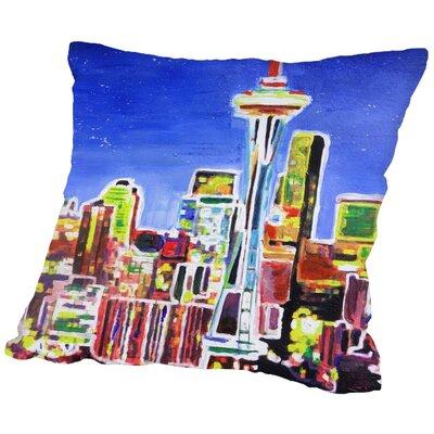 Markus Bleichner Bongiorno Neon Shimmering Seattle Skyline Throw Pillow