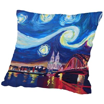 Markus Bleichner Bulloch Starry Night in Cologne Throw Pillow Size: 16