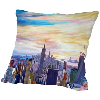 Markus Bleichner Hoehn NYC Panorama with Wtc Chrysler Empire State Throw Pillow Size: 18 H x 18 W x 2 D