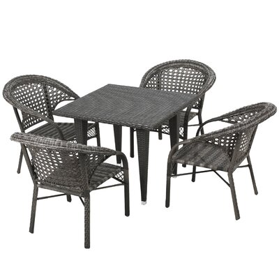 Alsup 5 Piece Outdoor Dining Set Finish: Grey