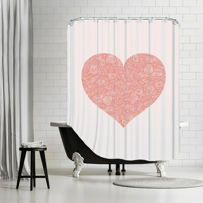 Brett Wilson Love Hearts Swirl Shower Curtain
