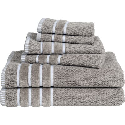 Delfino Rice Weave 6 Piece Towel Set Color: Taupe