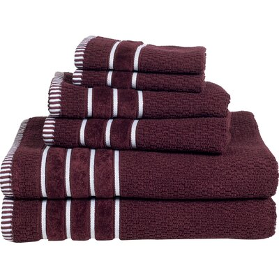 Delfino Rice Weave 6 Piece Towel Set Color: Burgundy