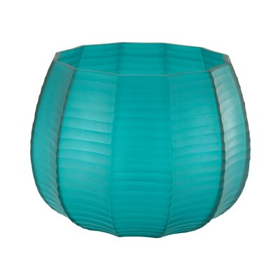 Stacked Cuts Glass Low Vase Color: Teal