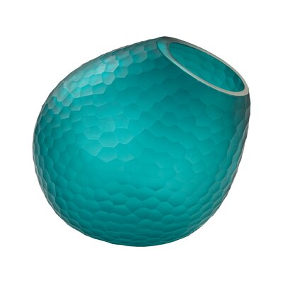Horn Cut Glass Vase Color: Teal