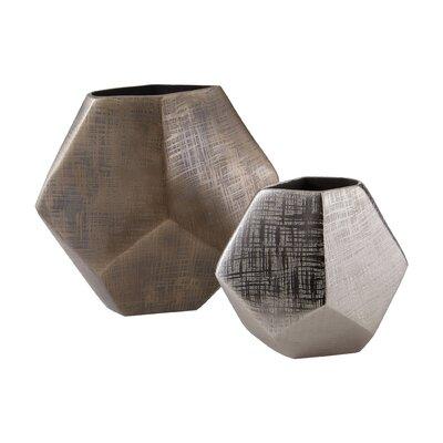 2 Piece Faceted Cube Vase