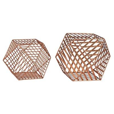Adhafera 2 Piece Metallic Wire Dodecahedron Sculpture Set