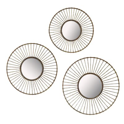 3 Piece Wirework Wall Mirror Set