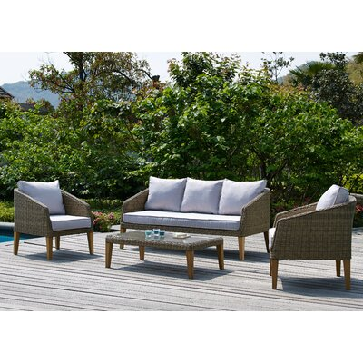 Hypes 4 Piece Deep Seating Group with Natural Cushion