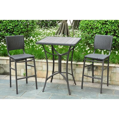 Katzer Wicker Resin 3 Piece Bar Set Finish: Black Antique