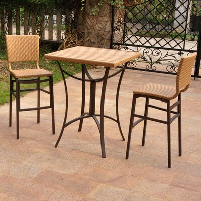 Katzer Wicker Resin 3 Piece Bar Set Finish: Honey
