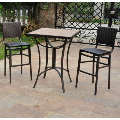 Katzer Wicker Resin 3 Piece Bar Set Finish: Chocolate