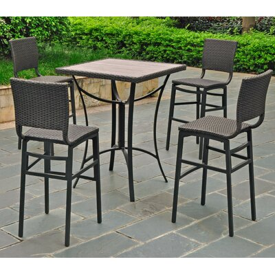 Katzer 5 Piece Bar Set Finish: Black Antique