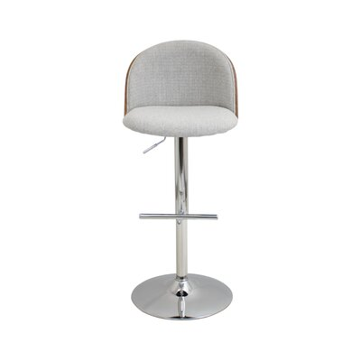 Pitcock Adjustable Height Swivel Bar Stool Upholstery: White Smoke