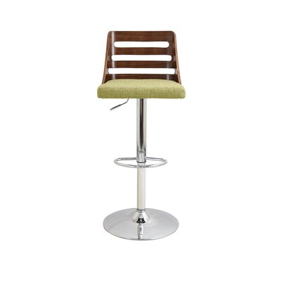 Testerman Adjustable Height Swivel Bar Stool Upholstery: Green