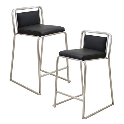 Loftis 24.75 Bar Stool Upholstery: Black