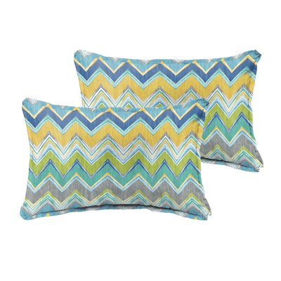 Pursley Indoor/Outdoor Lumbar Pillow Size: 12 H x 24 W, Color: Blue / Grey