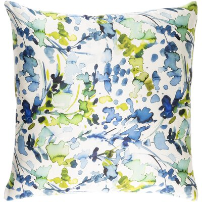 Mishler Silk Throw Pillow Size: 20 H x 20 W x 4 D, Color: White/Dark Blue/Sky Blue/Lime/Green/Aqua/Violet