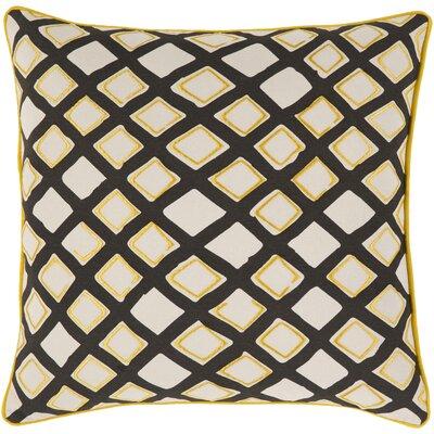 Rolon Cotton Throw Pillow Size: 18 H x 18 W x 4 D, Color: Saffron/Cream/Black