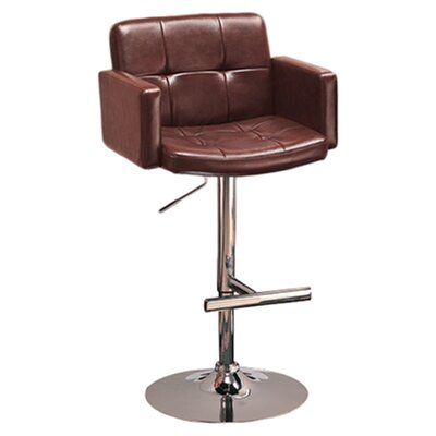 Adler Adjustable Height Swivel Bar Stool Upholstery: Brown