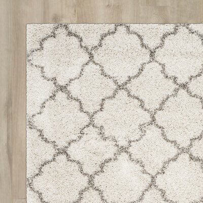 Marco Shag Ivory/Gray Area Rug Rug Size: 9 x 12