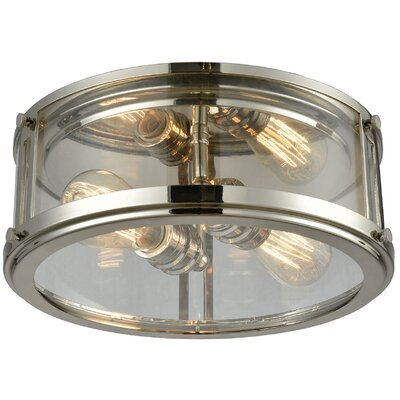 Gines 2-Light Flush Mount Finish: Polished Nickel