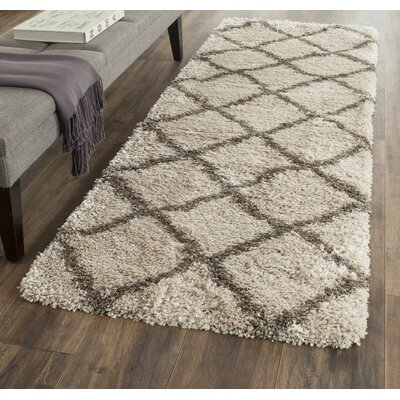 Clune Taupe/Gray Shag Area Rug Rug Size: Rectangle 2 x 7