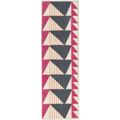 Catchings Hand-Woven Charcoal/Magenta Area Rug Rug Size: Runner 26 x 8