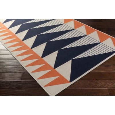 Haveman Hand-Woven Navy/Coral Area Rug Rug Size: Rectangle 2 x 3